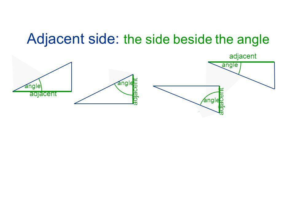 Adjacent side: the side beside the angle