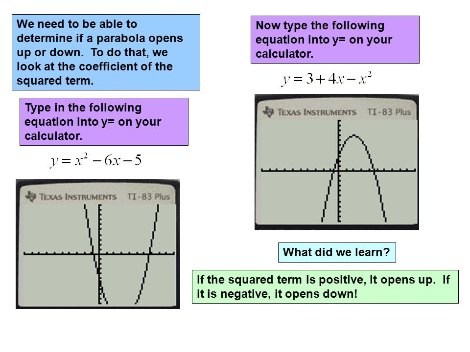 We need to be able to determine if a parabola opens up or down