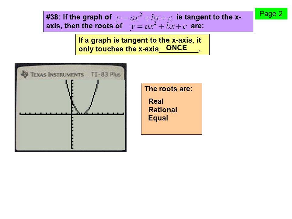 Page 2 #38: If the graph of is tangent to the x-axis, then the roots of are: