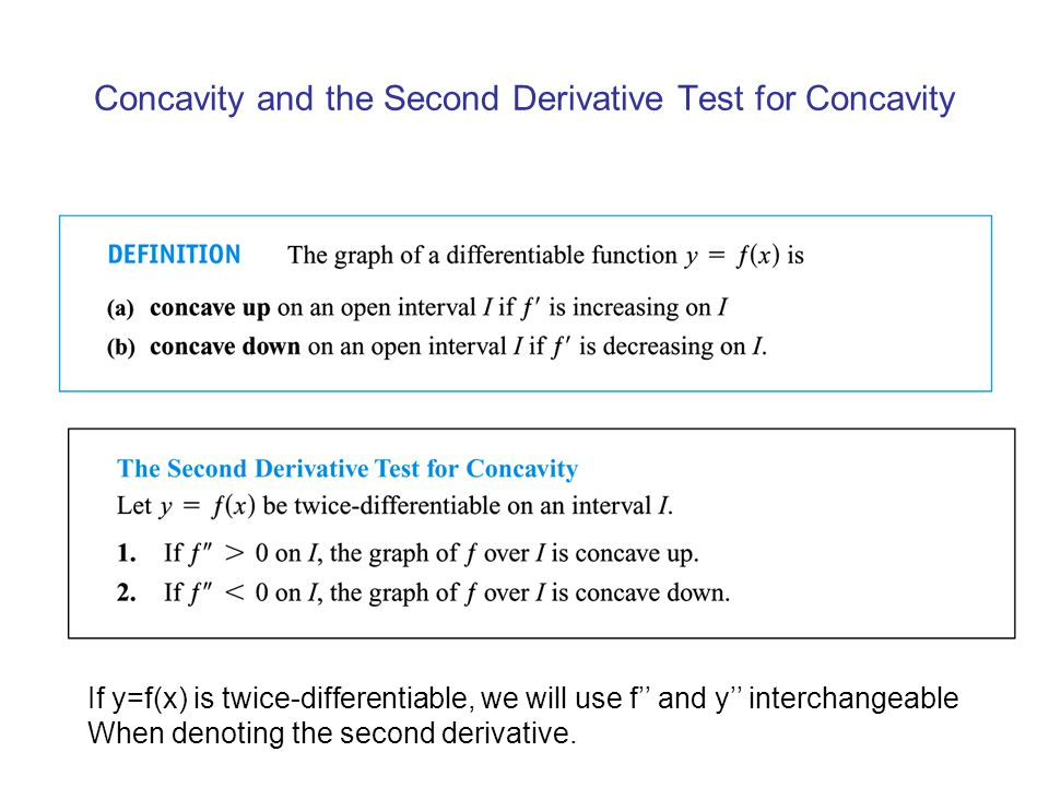 Concavity and the Second Derivative Test for Concavity