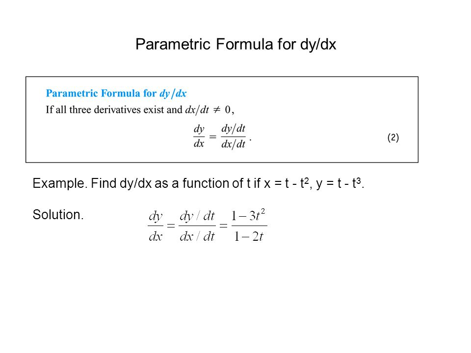 Parametric Formula for dy/dx