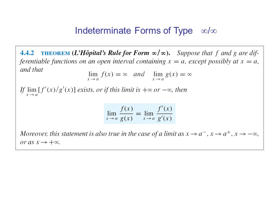 Indeterminate Forms of Type /