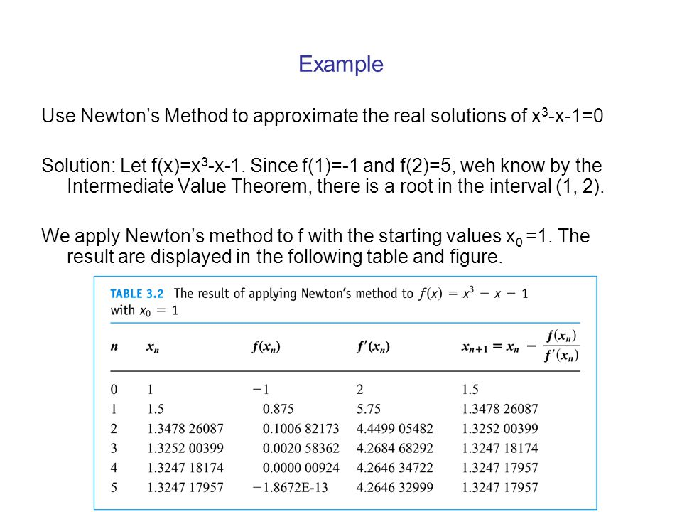 Example Use Newton's Method to approximate the real solutions of x3-x-1=0.