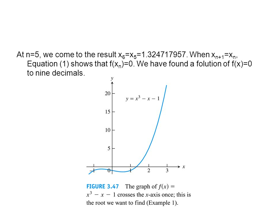 At n=5, we come to the result x6=x5=1. 324717957