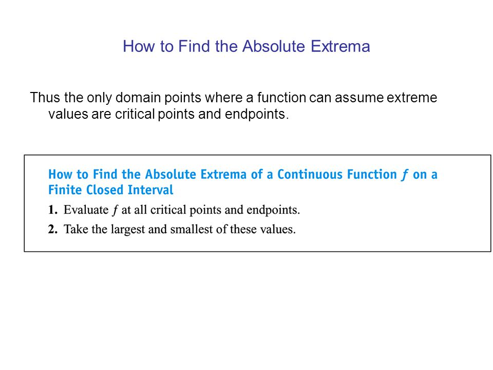 How to Find the Absolute Extrema
