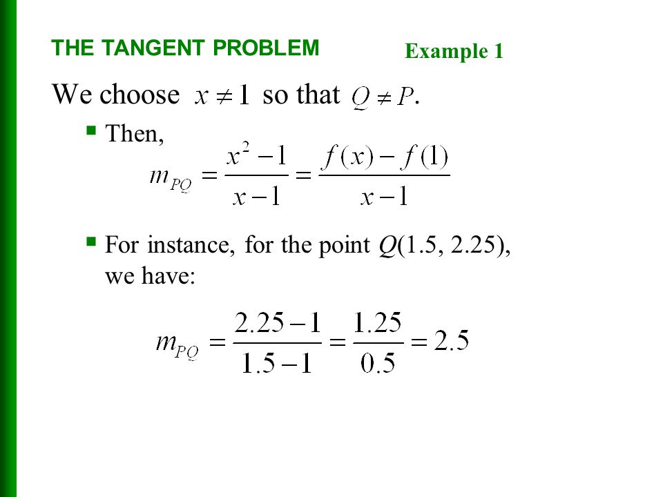 THE TANGENT PROBLEM Example 1. We choose so that .
