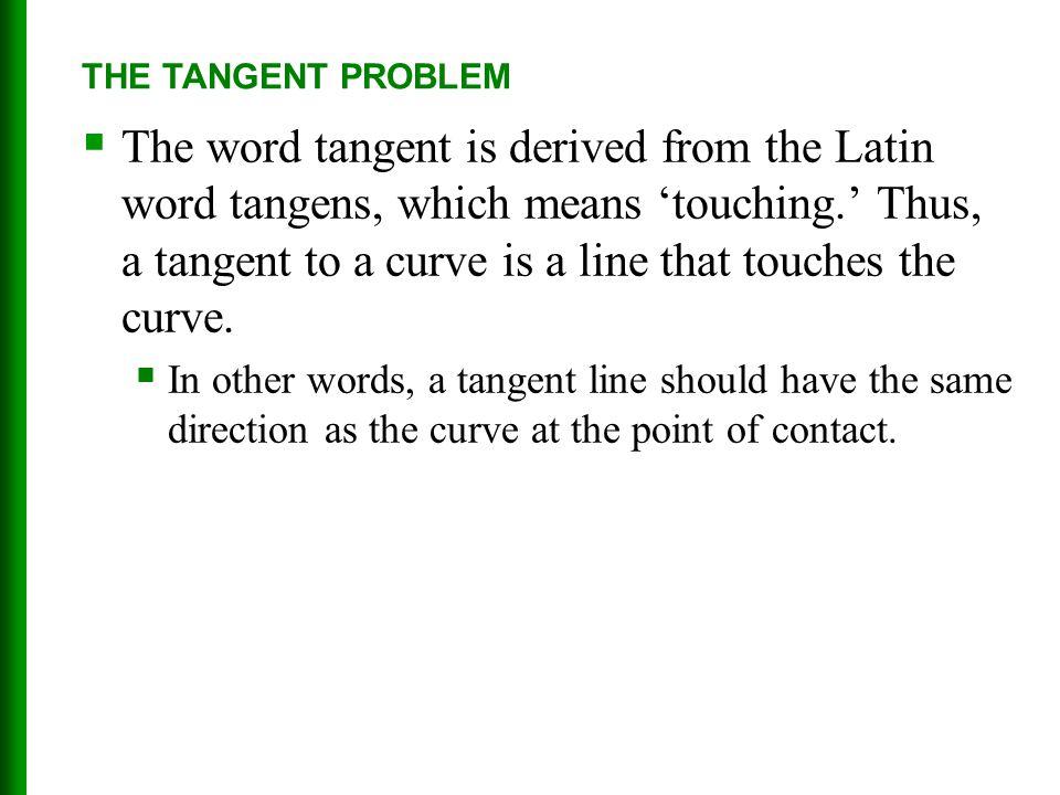 THE TANGENT PROBLEM