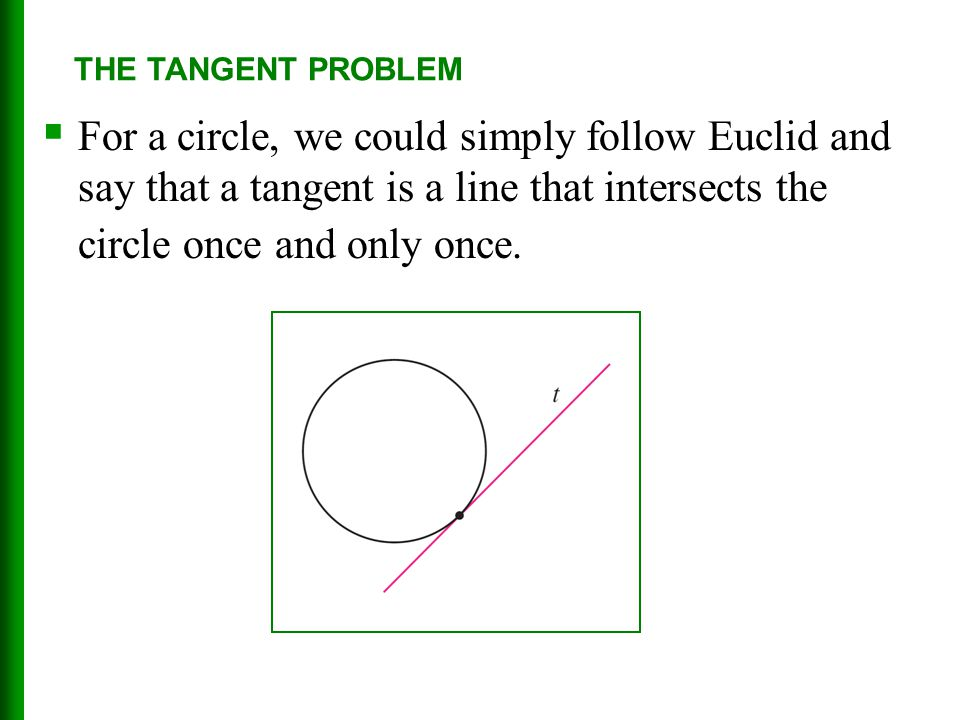 THE TANGENT PROBLEM For a circle, we could simply follow Euclid and say that a tangent is a line that intersects the circle once and only once.