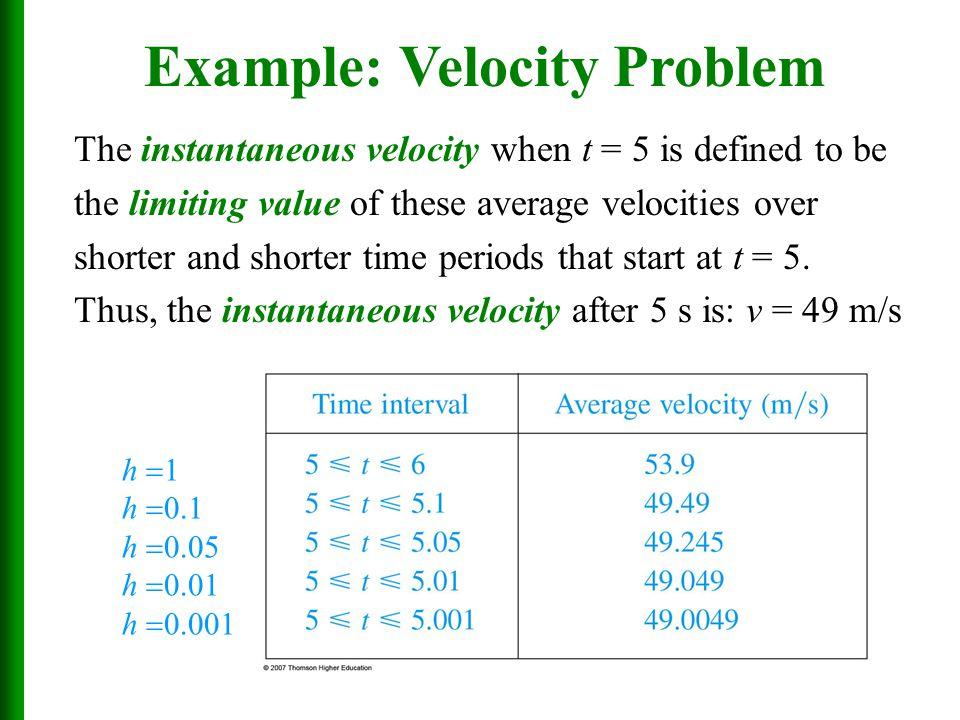 Example: Velocity Problem