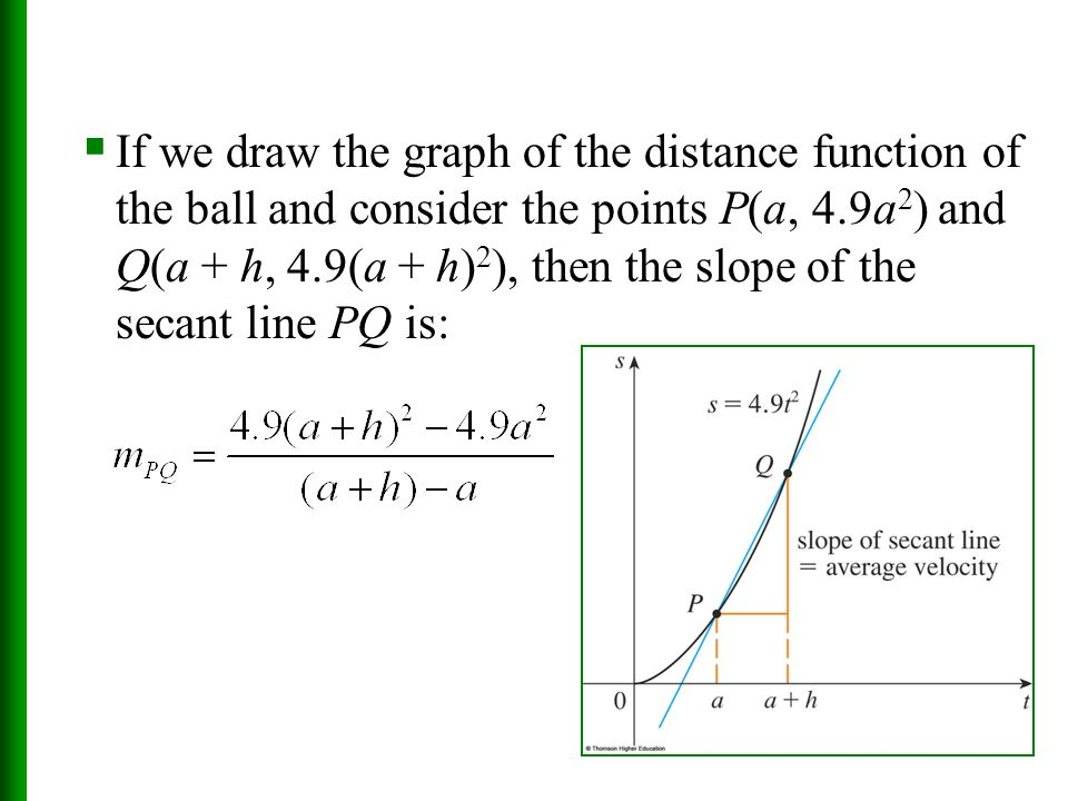 If we draw the graph of the distance function of the ball and consider the points P(a, 4.9a2) and Q(a + h, 4.9(a + h)2), then the slope of the secant line PQ is:
