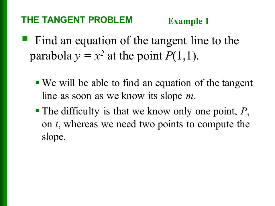 THE TANGENT PROBLEM Example 1. Find an equation of the tangent line to the parabola y = x2 at the point P(1,1).