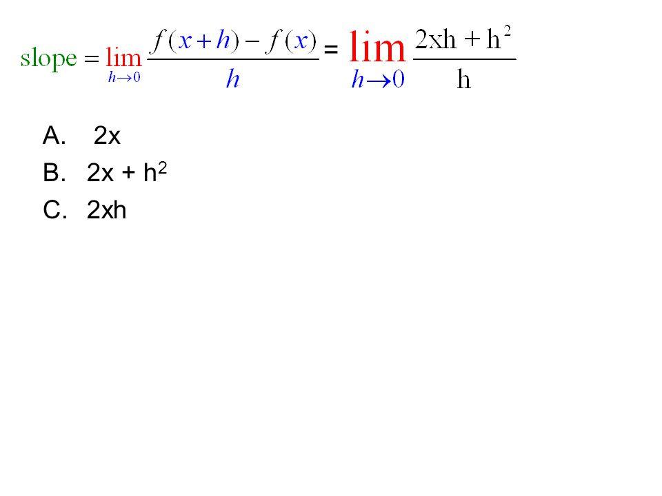 = 2x 2x + h2 2xh