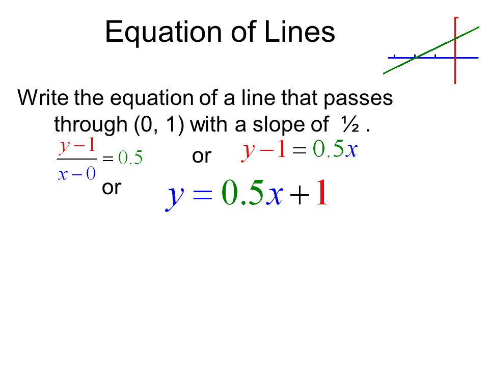 Equation of Lines Write the equation of a line that passes through (0, 1) with a slope of ½ . or
