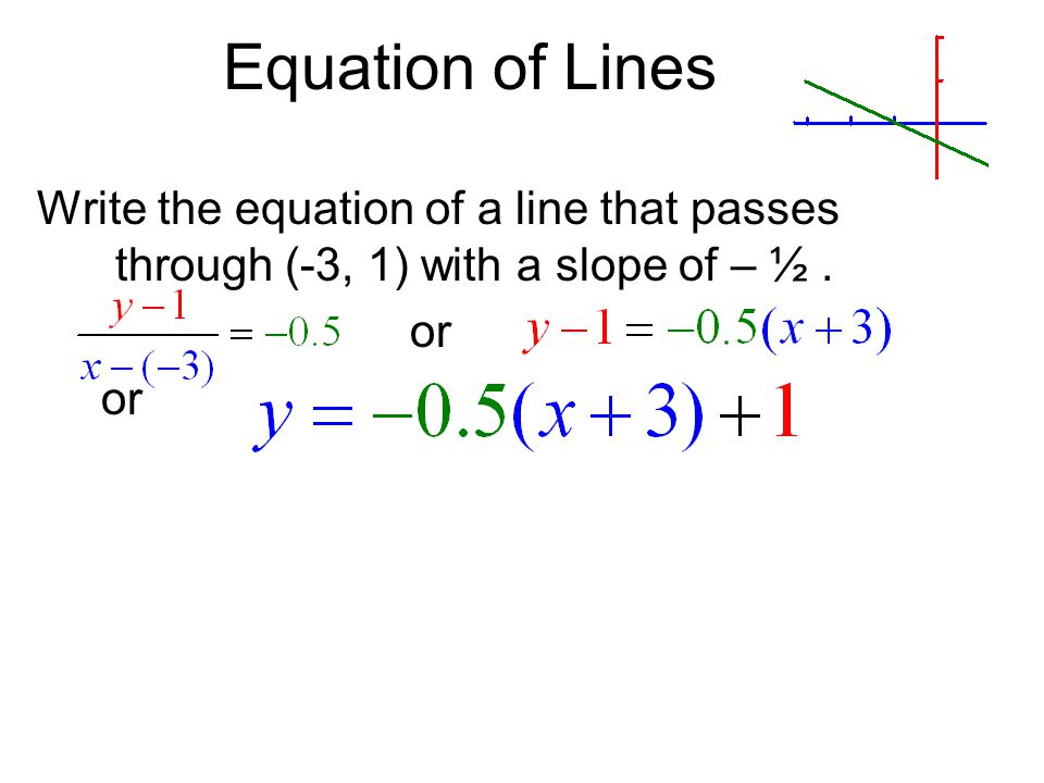 Equation of Lines Write the equation of a line that passes through (-3, 1) with a slope of – ½ . or