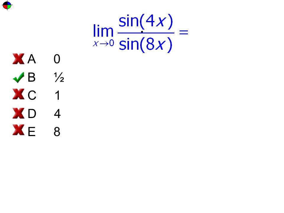 . A 0 B ½ C 1 D 4 E 8