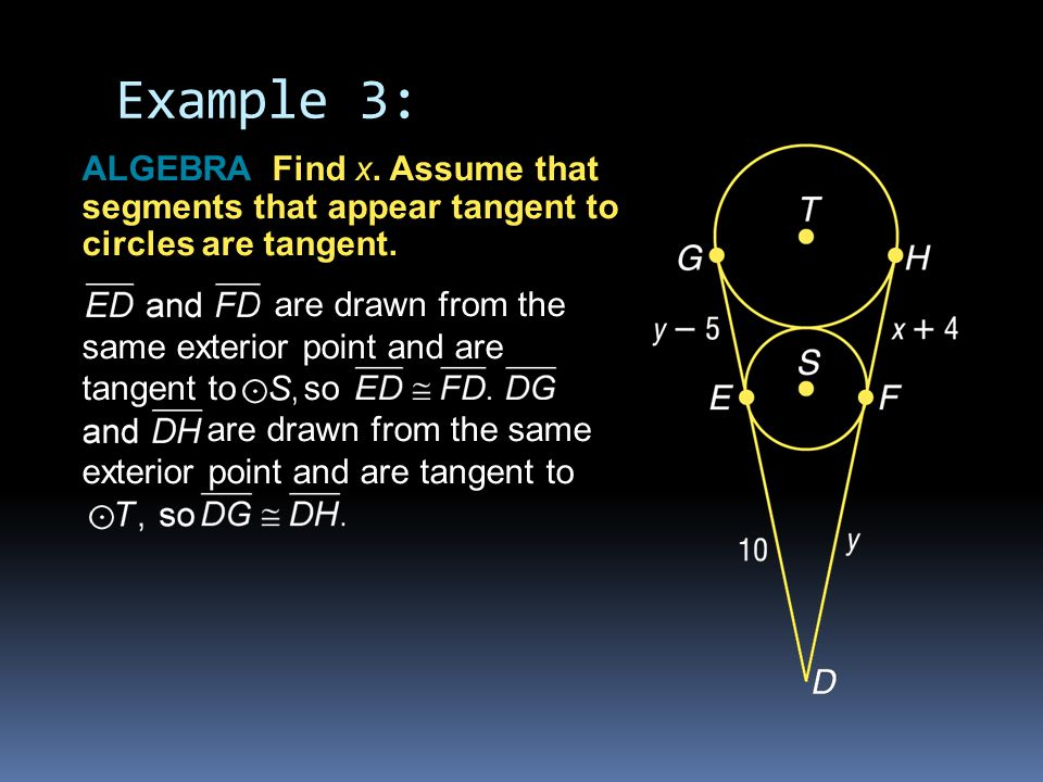 Example 3: ALGEBRA Find x. Assume that segments that appear tangent to circles are tangent.