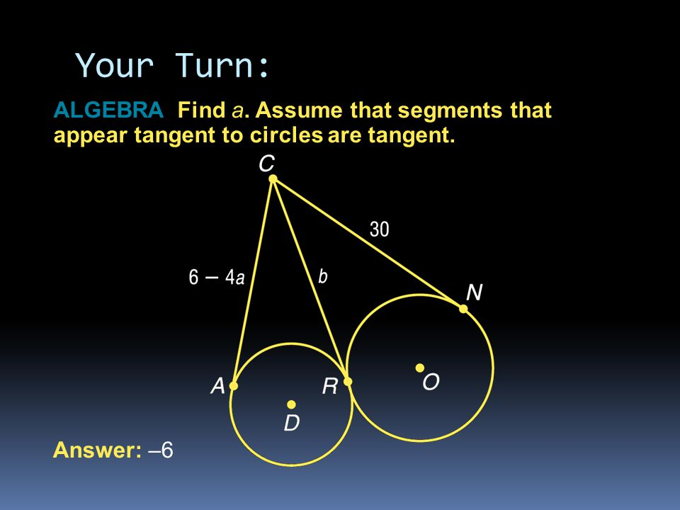 Your Turn: ALGEBRA Find a. Assume that segments that appear tangent to circles are tangent.