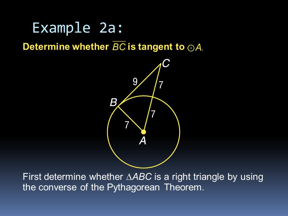 Example 2a: Determine whether is tangent to