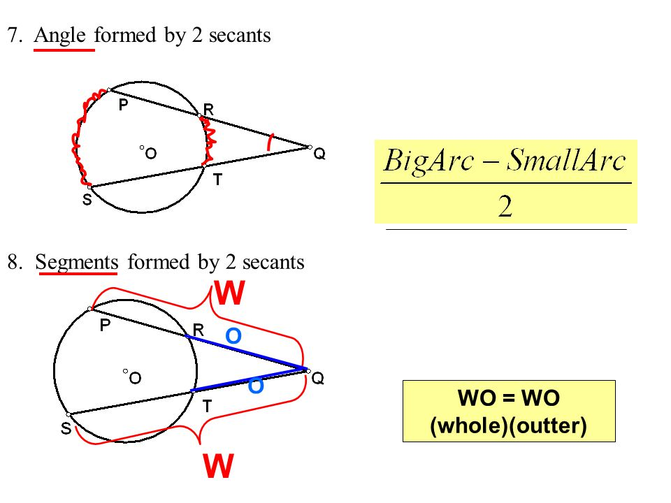 W W 7. Angle formed by 2 secants 8. Segments formed by 2 secants O O