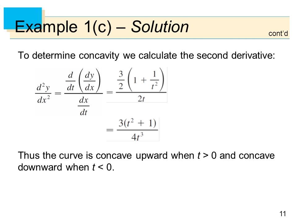 Example 1(c) – Solution cont'd. To determine concavity we calculate the second derivative: