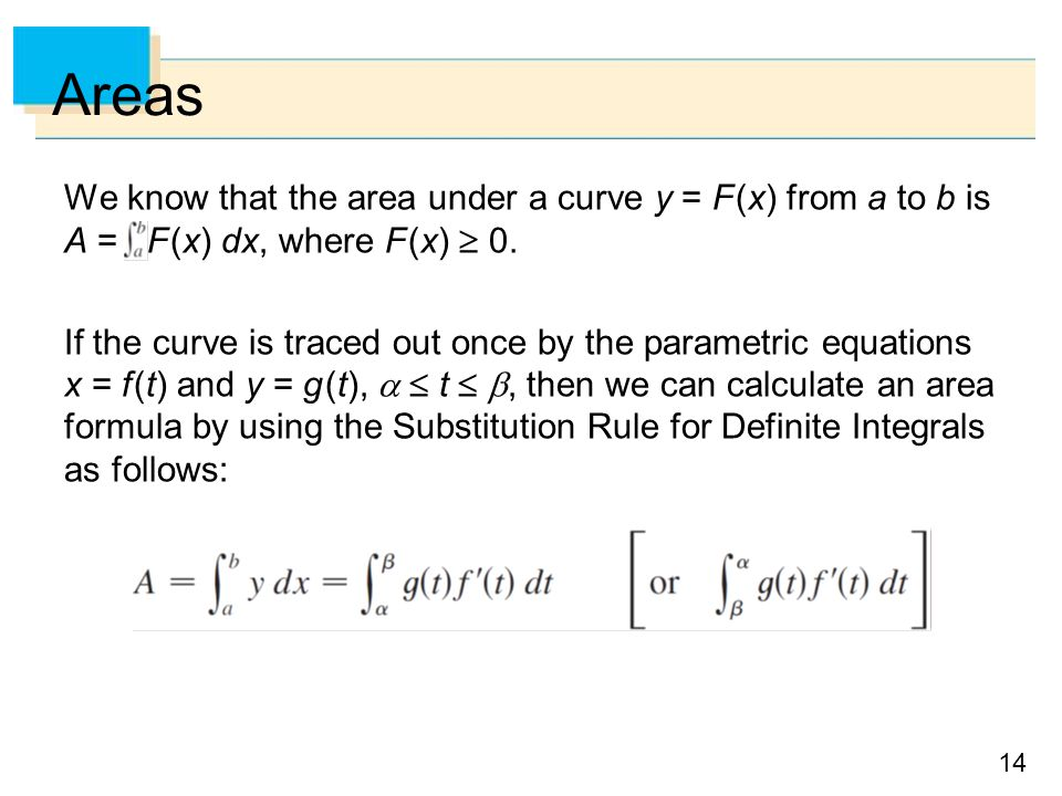 Areas We know that the area under a curve y = F (x) from a to b is A = F (x) dx, where F (x)  0.