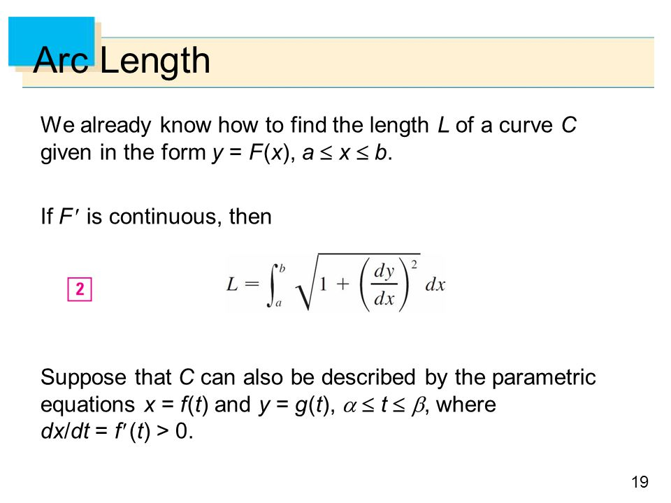 Arc Length We already know how to find the length L of a curve C given in the form y = F (x), a  x  b.