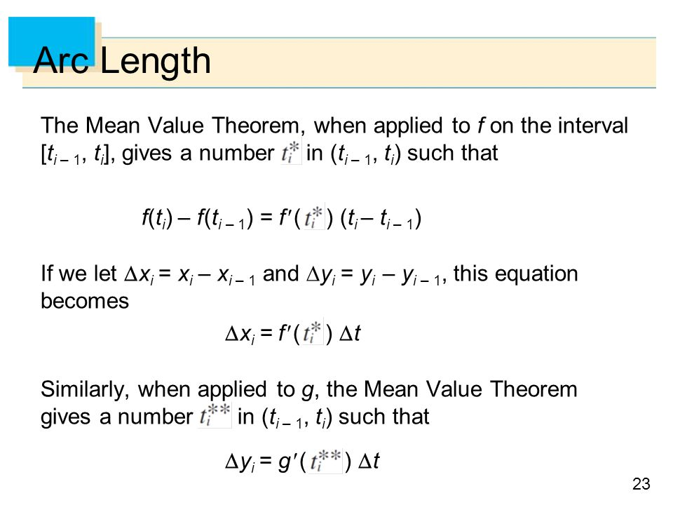 Arc Length The Mean Value Theorem, when applied to f on the interval [ti – 1, ti], gives a number in (ti – 1, ti) such that.
