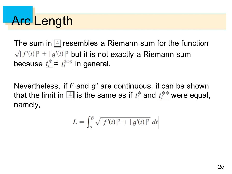 Arc Length The sum in resembles a Riemann sum for the function