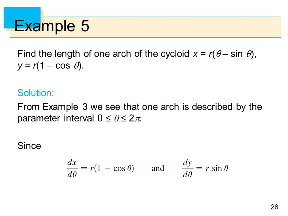 Example 5 Find the length of one arch of the cycloid x = r( – sin ), y = r(1 – cos ). Solution:
