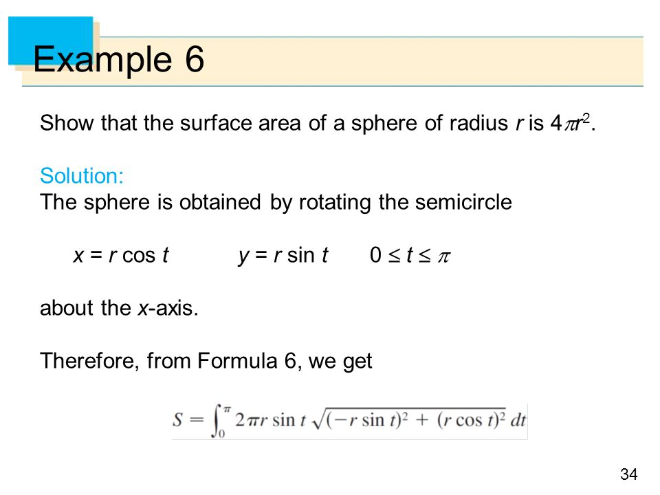 Example 6 Show that the surface area of a sphere of radius r is 4r2.