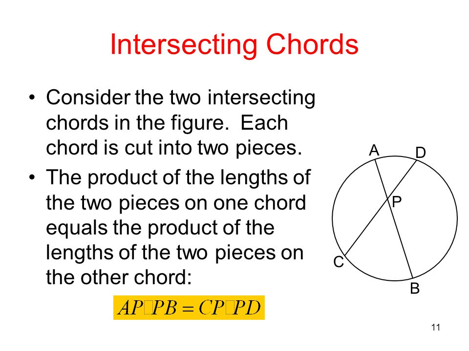 Intersecting Chords Consider the two intersecting chords in the figure. Each chord is cut into two pieces.