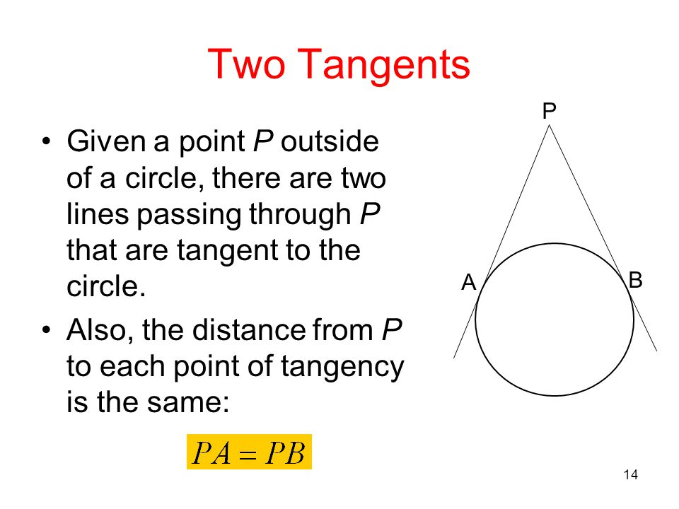 Two Tangents P. A. B. Given a point P outside of a circle, there are two lines passing through P that are tangent to the circle.