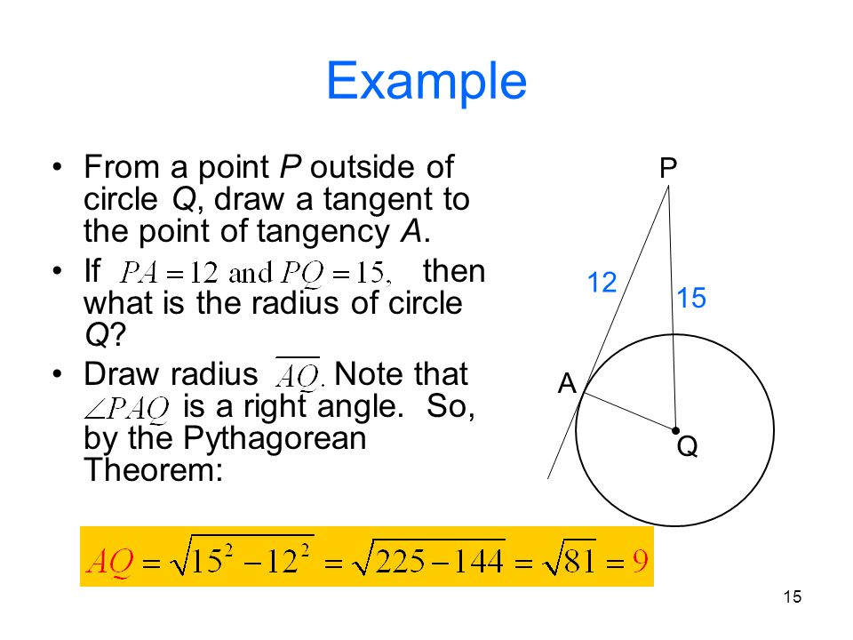 Example From a point P outside of circle Q, draw a tangent to the point of tangency A.
