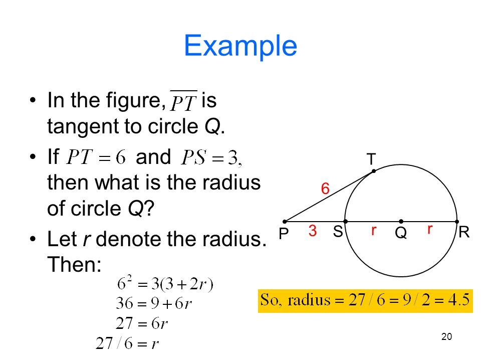 Example In the figure, is tangent to circle Q.