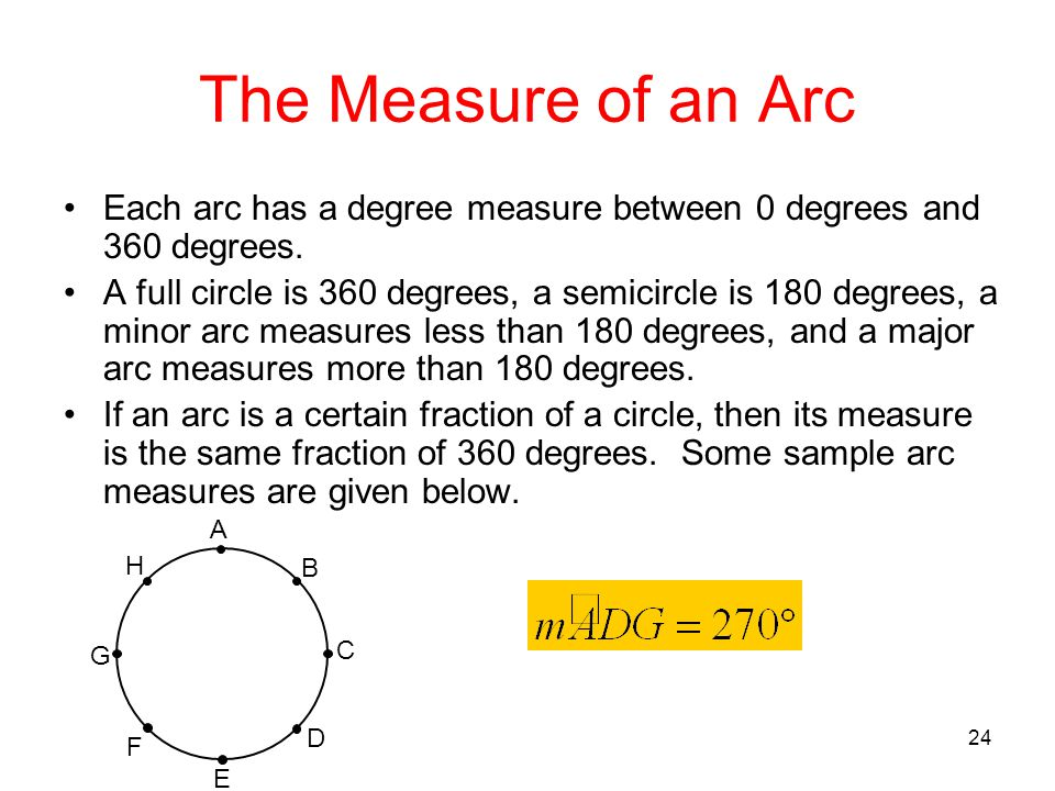 The Measure of an Arc Each arc has a degree measure between 0 degrees and 360 degrees.