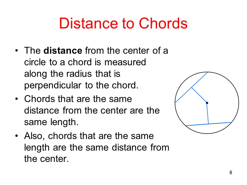 Distance to Chords The distance from the center of a circle to a chord is measured along the radius that is perpendicular to the chord.