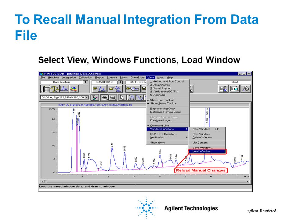 To Recall Manual Integration From Data File