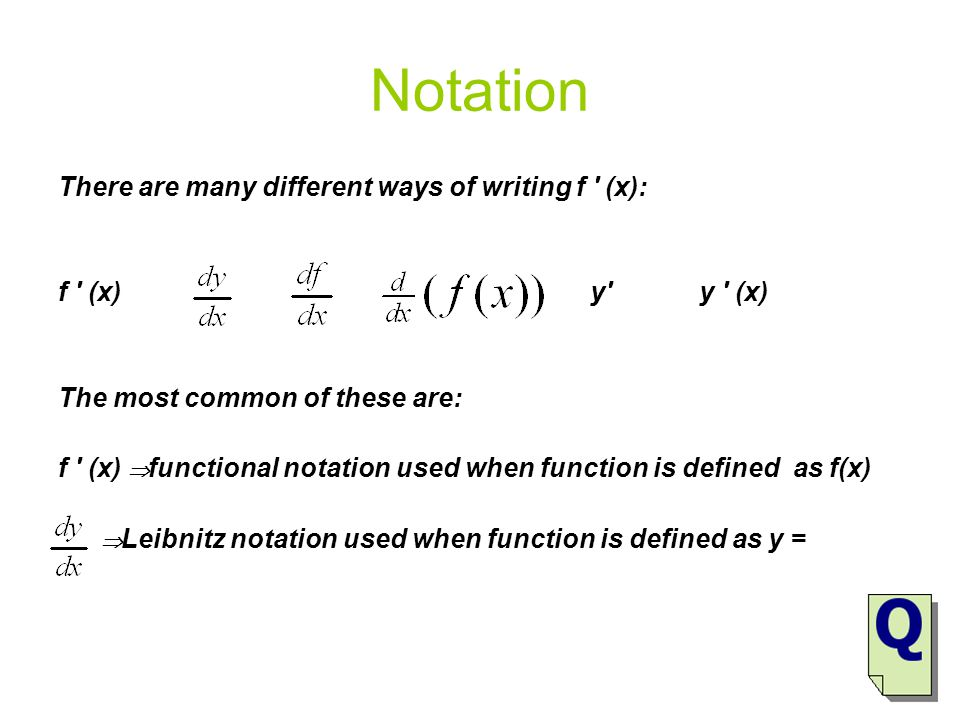 Notation There are many different ways of writing f ′ (x):