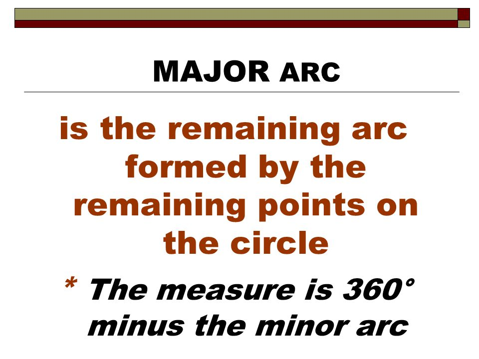 is the remaining arc formed by the remaining points on the circle