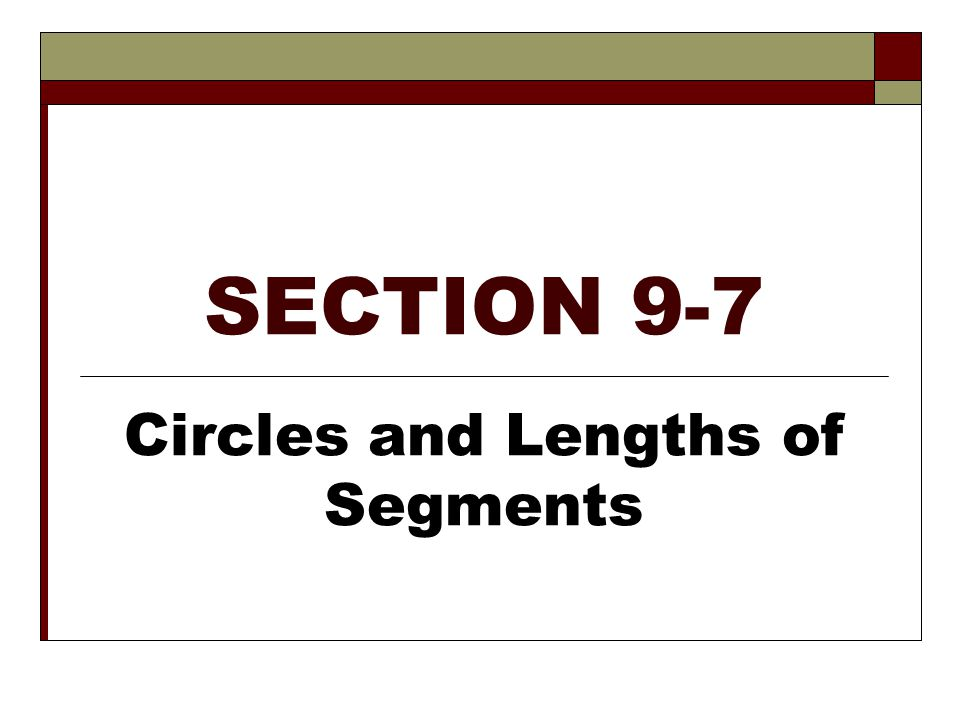 Circles and Lengths of Segments