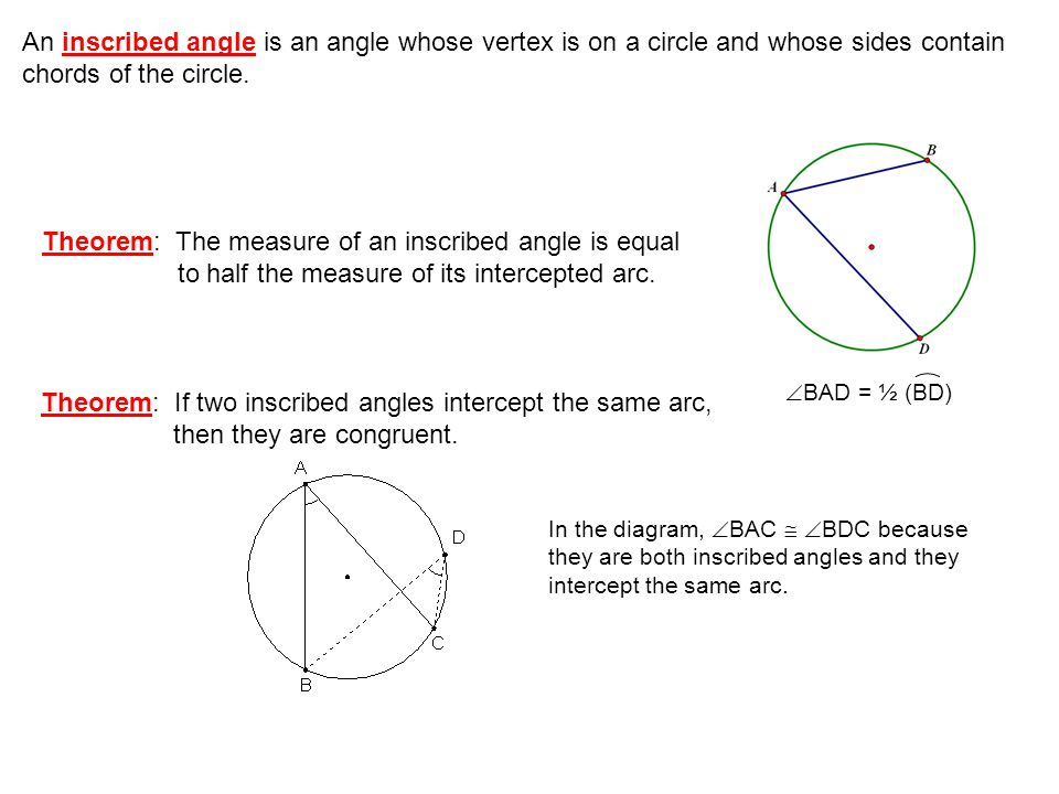 Theorem: If two inscribed angles intercept the same arc,