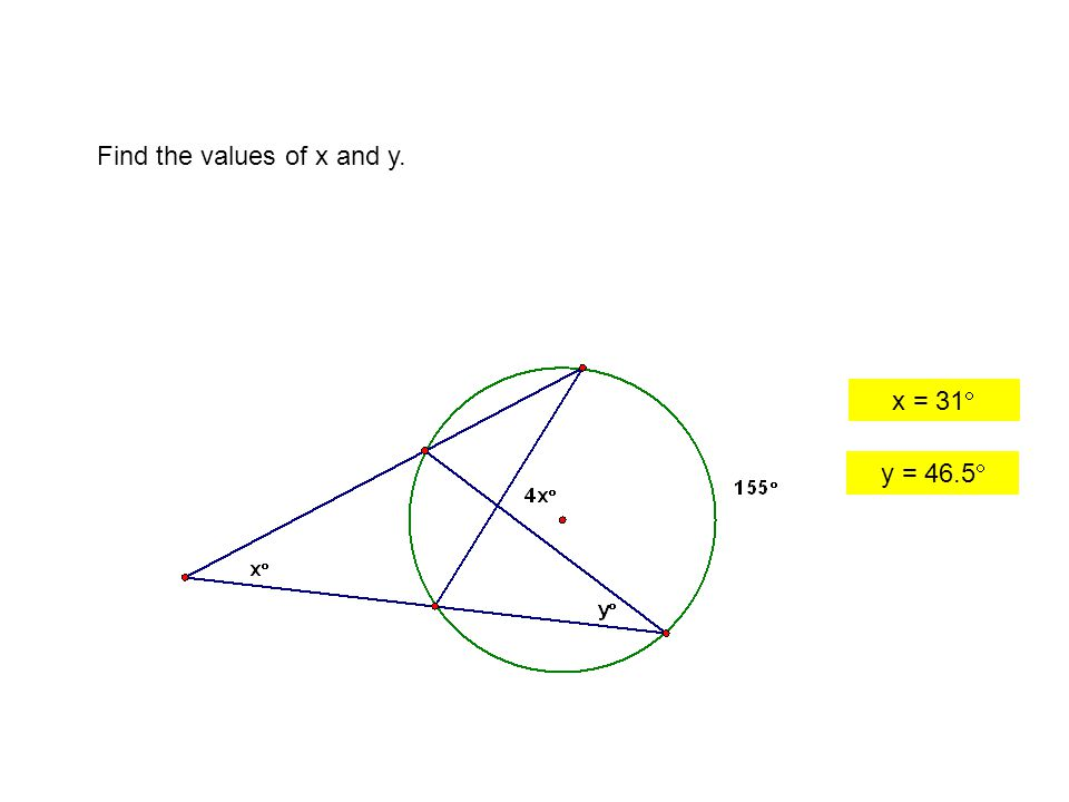 Find the values of x and y.