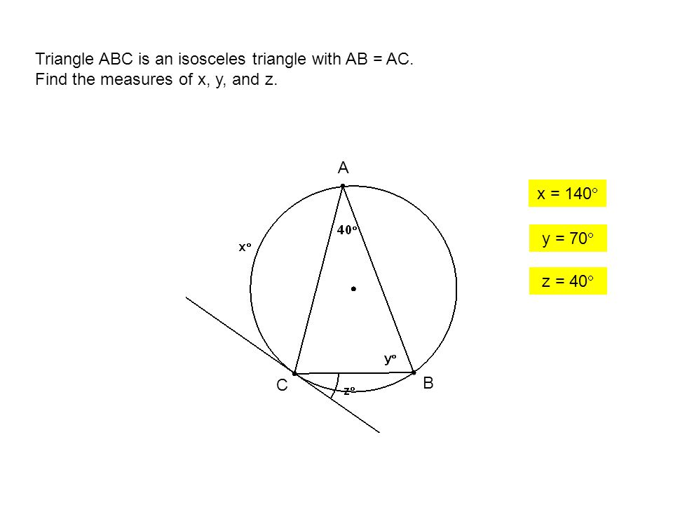 Triangle ABC is an isosceles triangle with AB = AC