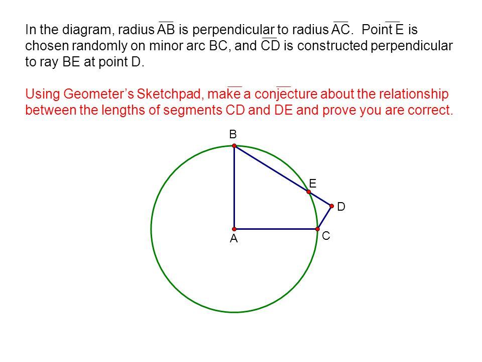 In the diagram, radius AB is perpendicular to radius AC