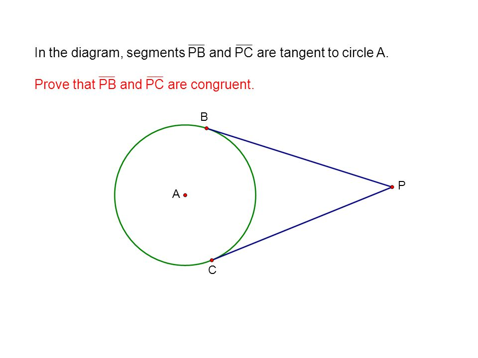 In the diagram, segments PB and PC are tangent to circle A.