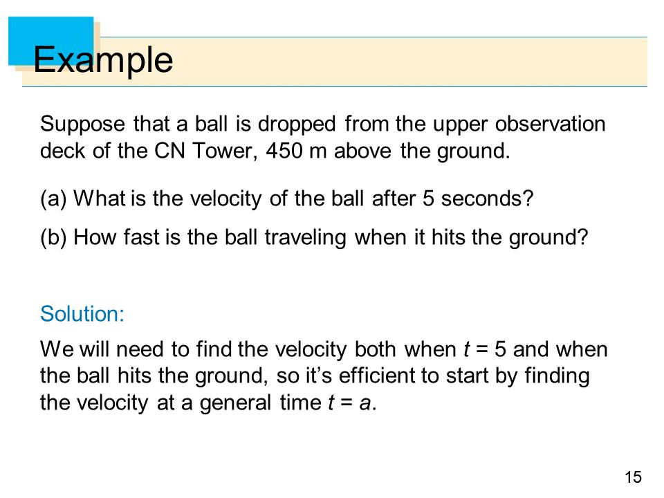 Example Suppose that a ball is dropped from the upper observation deck of the CN Tower, 450 m above the ground.