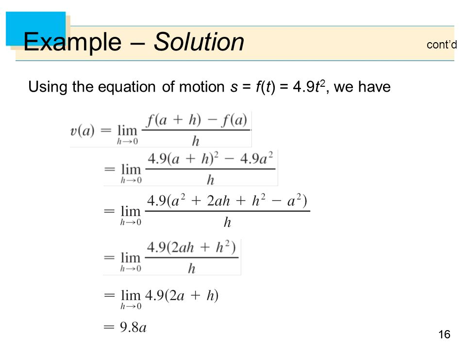 Example – Solution cont'd Using the equation of motion s = f (t) = 4.9t 2, we have