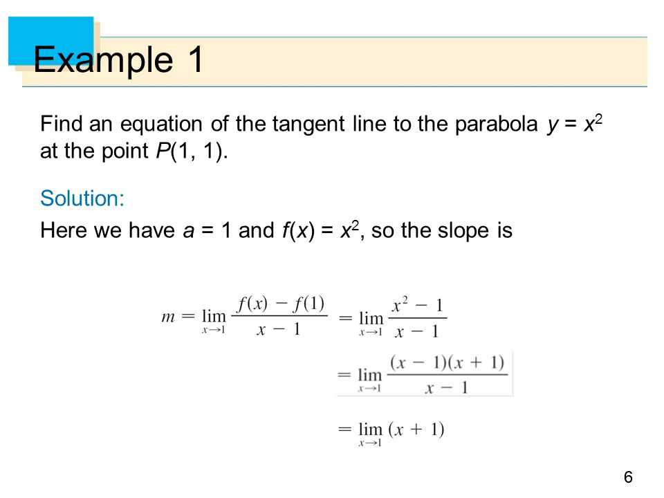 Example 1 Find an equation of the tangent line to the parabola y = x2 at the point P(1, 1). Solution: