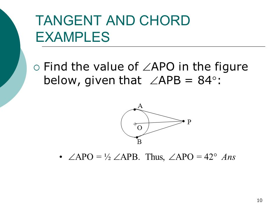 TANGENT AND CHORD EXAMPLES