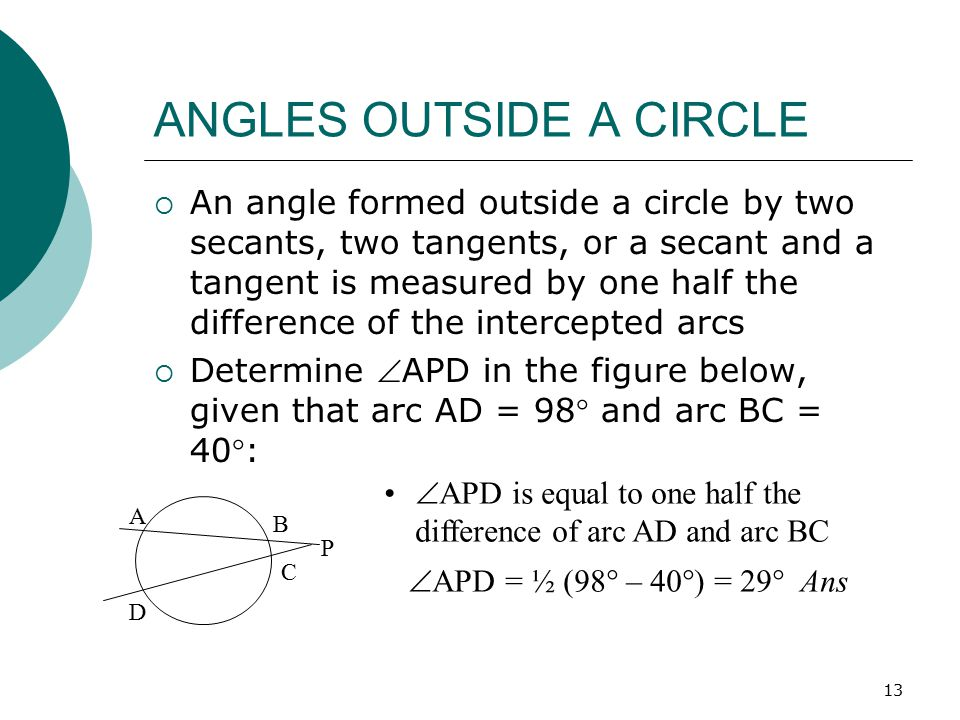 ANGLES OUTSIDE A CIRCLE